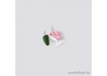 Пластиковые цветы для ногтей (чайная роза, белый)