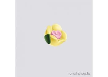 Пластиковые цветы для ногтей (чайная роза, желтый)