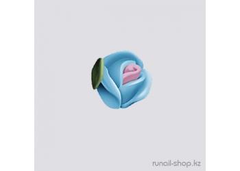 Пластиковые цветы для ногтей (голландская роза, ярко-голубой)