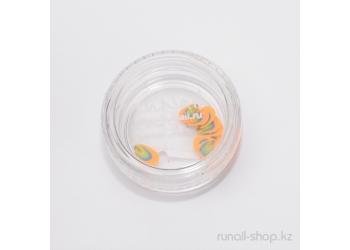 Резиновые аппликации для ногтей (фигурки, оранжево-зеленый)