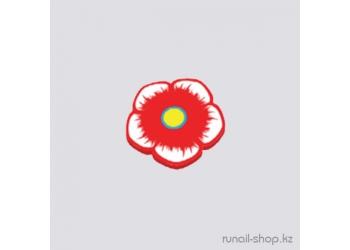Резиновые аппликации для ногтей (цветочки, красный)