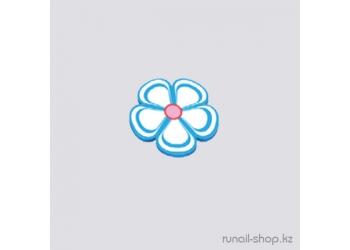 Резиновые аппликации для ногтей (цветочки, голубой)