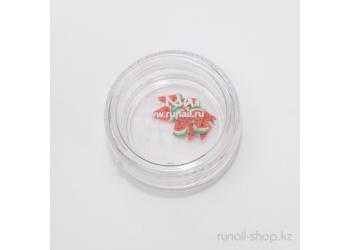 Резиновые аппликации для ногтей (дольки арбуза, красный)