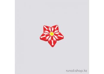 Резиновые аппликации для ногтей (цветы, красно-белый)