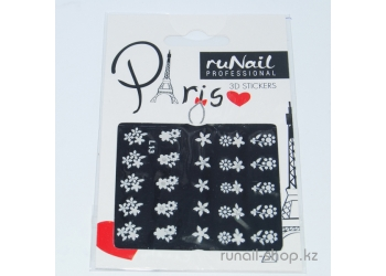 Наклейки для дизайна ногтей 3D (белые цветы) №1667