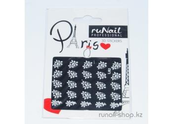 Наклейки для дизайна ногтей 3D (белые цветы) №1675