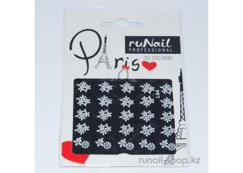 Наклейки для дизайна ногтей 3D (белые цветы) №1676