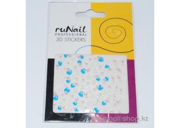 Наклейки для дизайна ногтей 3D (сердечки) №1685