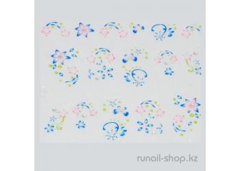 Наклейки для дизайна ногтей 3D (цветы) №1686