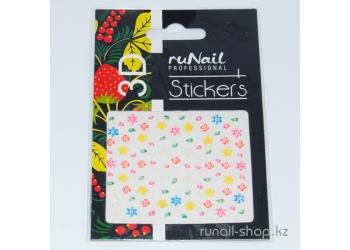 Наклейки для дизайна ногтей 3D (цветы) №1695