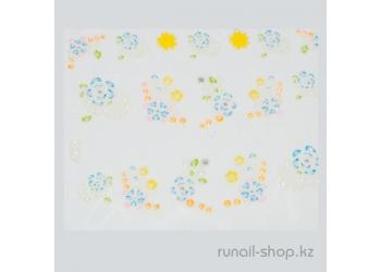 Наклейки для дизайна ногтей 3D (цветы) №1696