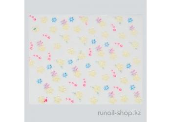 Наклейки для дизайна ногтей 3D (цветы) №1697