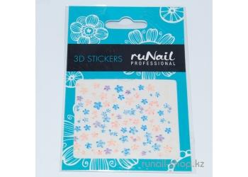 Наклейки для дизайна ногтей 3D (цветы) №1701
