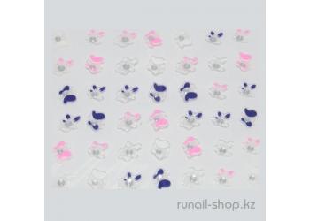Наклейки для дизайна ногтей 3D (цветы) №1708