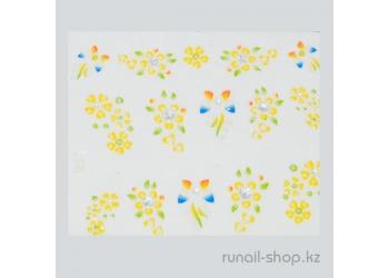 Наклейки для дизайна ногтей 3D (цветы) №1733