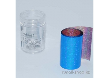 Фольга переводная для ногтей (голубой, голографический), 1,5 м