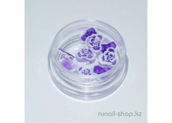 Акриловые цветы для ногтей (розы, фиолетовый), 10 шт