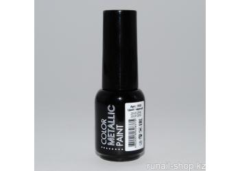 Металлизированная краска для дизайна ногтей (цвет: черный), 5 мл
