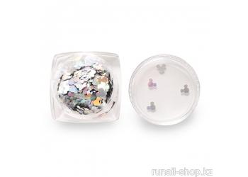 Дизайн для ногтей: пайетки зеркальные (мультяшка)