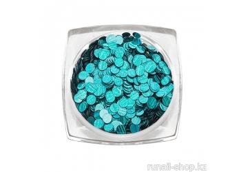 Дизайн для ногтей: пайетки голографические (цвет: бирюзовый)