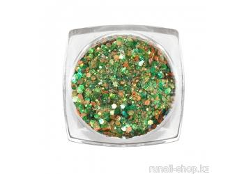 Дизайн для ногтей: блестки mix (цвет: зеленый)