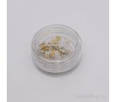Дизайн для ногтей: цветы из ткани для ногтей(золотой)