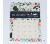 Наклейки для дизайна ногтей 3D (цветы) №1625
