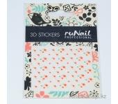 Наклейки для дизайна ногтей 3D (цветы) №1626