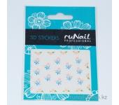 Наклейки для дизайна ногтей 3D (цветы) №1640