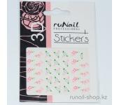 Наклейки для дизайна ногтей 3D (цветы) №1647