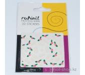 Наклейки для дизайна ногтей 3D (звезды и шарики) №1684