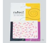 Наклейки для дизайна ногтей 3D (цветы и сердца) №1687