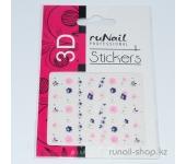 Наклейки для дизайна ногтей 3D (цветы и бабочки) №1707