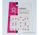 Наклейки для дизайна ногтей 3D (цветы) №1709