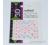 Наклейки для дизайна ногтей 3D (цветы и бантики) №1713