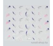 Наклейки для дизайна ногтей 3D (бабочки и цветы) №1720
