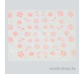 Наклейки для дизайна ногтей 3D (цветы) №1730