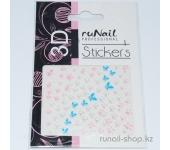 Наклейки для дизайна ногтей 3D (цветы и бабочки) №1736