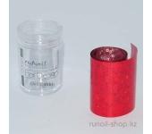 Фольга для маникюра переводная (красный, голографический), 1,5 м