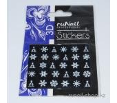 Наклейки для дизайна ногтей 3D (новогодние, снежинки, белые) №2055
