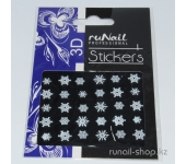 Наклейки для дизайна ногтей 3D (новогодние: снежинки, белые) №2072