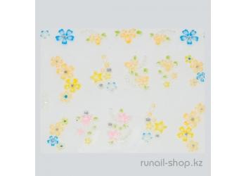 Наклейки для дизайна ногтей 3D (цветы) №1735