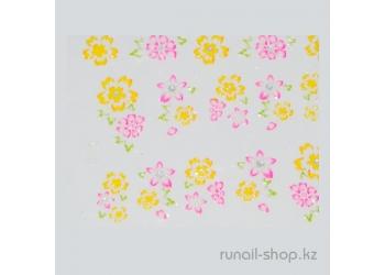 Наклейки для дизайна ногтей 3D (цветы) №1738