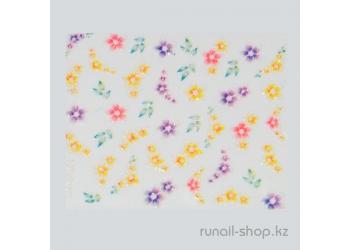 Наклейки для дизайна ногтей 3D (цветы) №1740