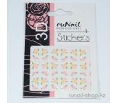 Наклейки для дизайна ногтей 3D (цветы) №1628