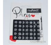 Наклейки для дизайна ногтей 3D (белые цветы) №1672